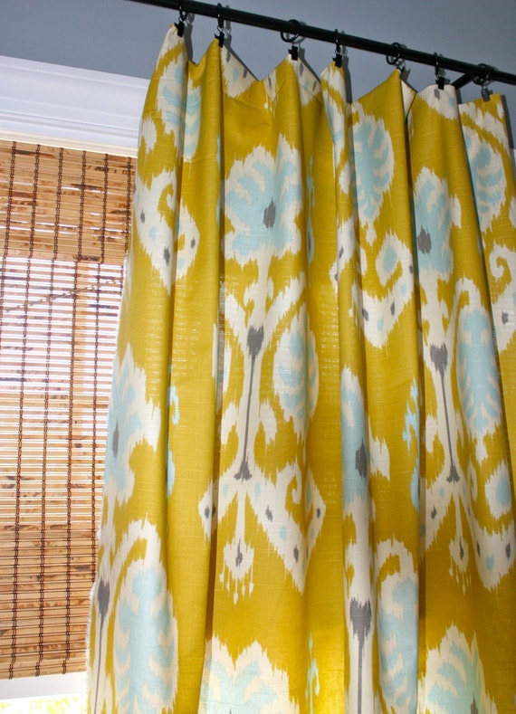 Citron, Blue, Grey and White Ikat Curtain Panels / Designer Custom ...