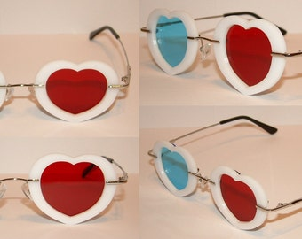 Red and Blue 3D Heart or rectangle glasses