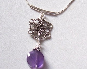 Genuine Amethyst  and Sterling Silver Necklace