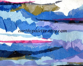 Abstract, 9x12 paper collage, Black, Bllue, Mixed Media, Art & collectibles, Earthspalette