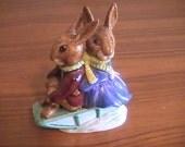 Royal Doulton Billie and Buntie Bunnykins Sleigh Ride Vintage Figurine