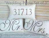 3 Wedding Pillows FREE SHIPPING--Date Pillows- Mr. Mrs. Pillows-Burlap Mr. and Mrs. Pillows-Wedding Gift- Rustic Wedding-Decorative Pillows-