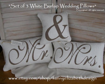 3 Wedding Pillows FREE SHIPPING-- Mr. and Mrs.- Mr. and Mrs. Pillows-  Wedding Gift- Rustic Wedding-Pillow- Decorative Pillow-