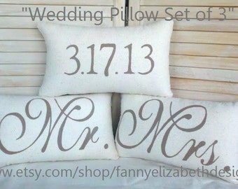 3 Wedding Pillows FREE SHIPPING--Date Pillows- Mr. Mrs. Pillows-Burlap Mr. and Mrs. Pillows-Wedding Gift- Rustic Wedding-Decorative Pillows-