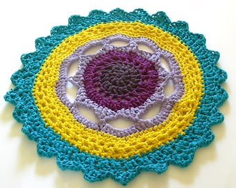 Crocheted, Round Rug - FLOWER RUG - five colours