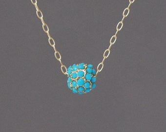 Small Gold Turquoise Ball Pave Crystal Necklace