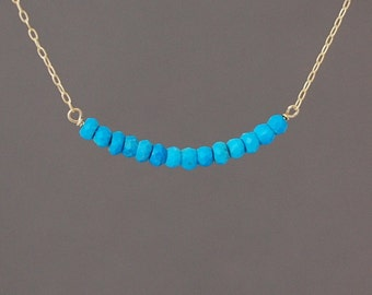Turquoise Beaded Necklace Gold, Rose Gold, or Silver