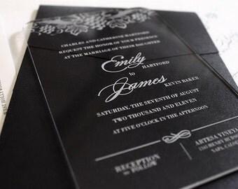 Engraved Acrylic Wedding Invitations - Vine