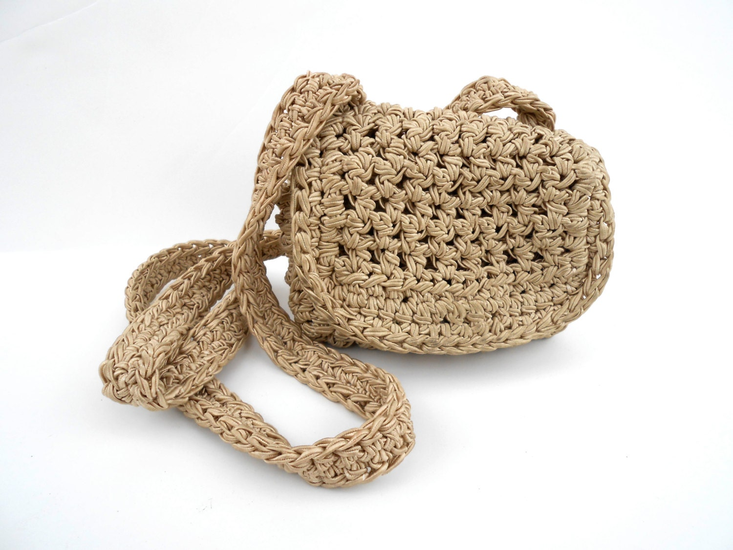 Crochet Hippie Bag : Vintage Crochet Purse Hippie 70s Cross Bag Tan by BurntToastVTG