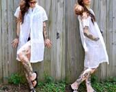 Vintage // 1970's White Chiffon Nightie // Sheer Lace // Dress with Pockets // Gypsy size M Grunge Draped