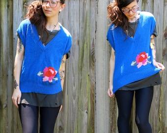 Vintage // Blue Knit Crop Top // Knit Sweater Blouse // California Krush // Roses size M Grunge