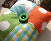 Chevron and Polka Dot Pin Cushion- Bright Orange, Lime, and Chocolate