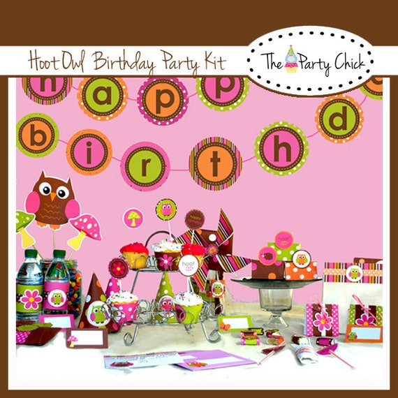 Hoot Owl,  Party Invitations & Decorations - Printable Party Kit - Editable Text you personalize at home - Instant Download