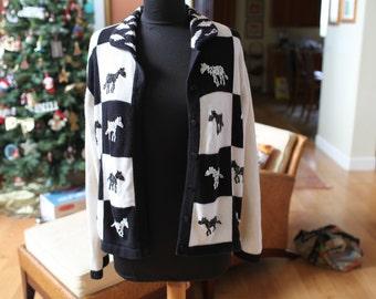 Women's Black and White Zebra Sweater