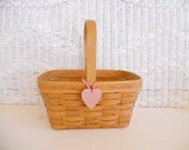 Vintage Longaberger Basket Heart Gathering Basket Gift for Her Market 1988