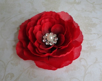 Red Flower Clip - Bridal Flower Clip - Christmas Flower-Bridesmaids - Womens Flower Clip - Flower Hair Pin - Brooch - Girls Flower Head Clip