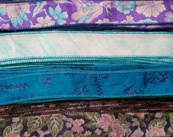 Silk Sari Ribbon, Silk Trim, 4 colors, A23