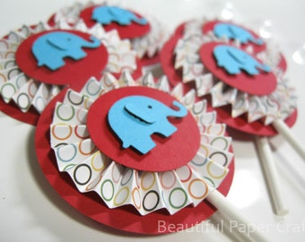 Circus Elephant Cupcake Toppers, Circus Party, Elephant Rosettes Birthday Party Decorations..Set of 12