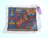 1950's Embroidered Square, Needlepoint, Abstract Needlepoint Design, Geometric, Wall Art, Tribal,