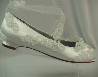 Wedding Flats White Half inch heel shoes Peep toes Flats Wedding laced flats Alencon Appliques with crystals, satin lace up ribbon pump,1/2""