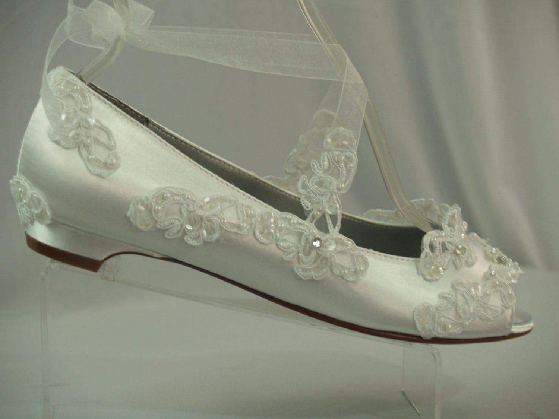 zoomWedding Flats White Half inch heel shoes Peep toes Flats. One Inch Heel Wedding Shoes. Home Design Ideas