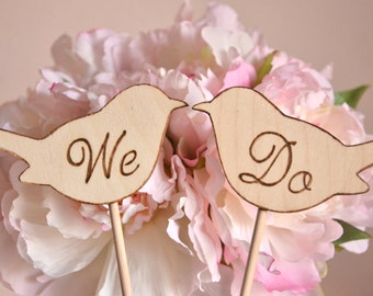 We Do love birds wedding cake topper