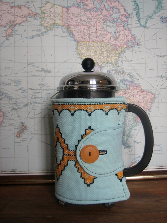 Mint Green Embroidered French Press Coffee Cozy