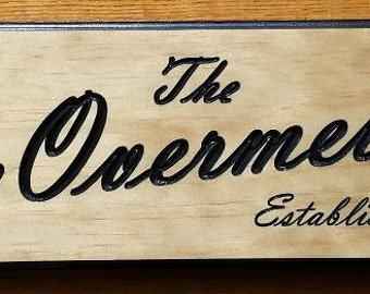 Personalized OUTDOOR WOODEN NAME Plaque / Sign Engraved and Painted with Establishment Date
