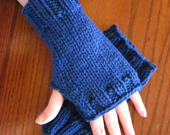 Wristlets Fingerless Mitts Hand Warmers - in the color True Blue