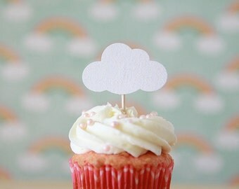 Glitter Cloud Cupcake Toppers, Rainy Day theme, Baby shower theme, 12 toppers