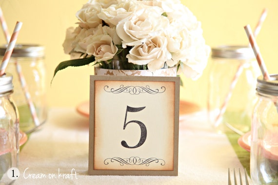 table numbers wedding baby shower party decoration vintage. Black Bedroom Furniture Sets. Home Design Ideas