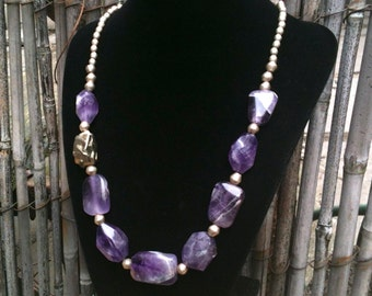 Lila Necklace / Amethyst & Pyrite