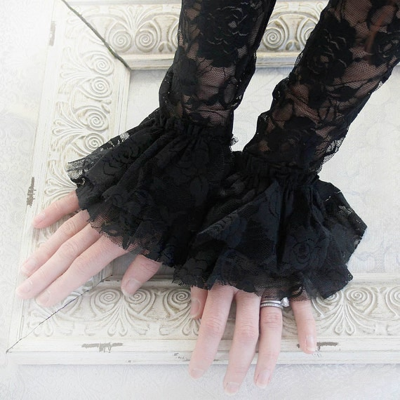 MIDNIGHT vintage Victorian steampunk black lace cuffs, fingerless lace gloves in black lace