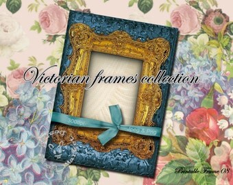 Blue VICTORIAN FRAME Clip art with White Drapery Rectangular Ornate Frame Diecut Collage Art Scrapbooking Instant download Golden Frame Fr27
