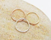 Set of Three Thin 24 Gauge Nose Rings, Argentium Silver, 14K Gold Filled, 14K Rose Gold Filled, 3 Nose Hoops