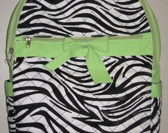 Personalized Quilted Green Zebra Backpack