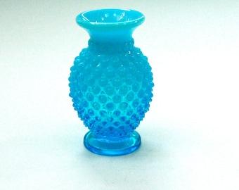 Fenton Blue Vase, Opalescent Hobnail, 1940's