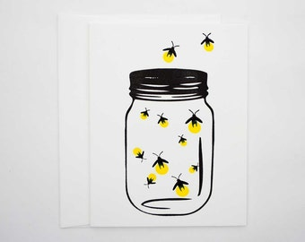 Letterpress cards -Fireflies- Set of 6