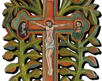 Traditional cross carved and painted (in stock)