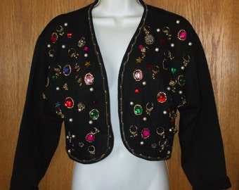 Black Bolero Jewelled Jacket - size S or M Womens Vintage 1980s Clothing - Boho