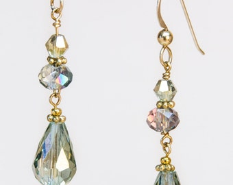 Gold Filled earrings: Crystal Dewdrops in Spring Tones