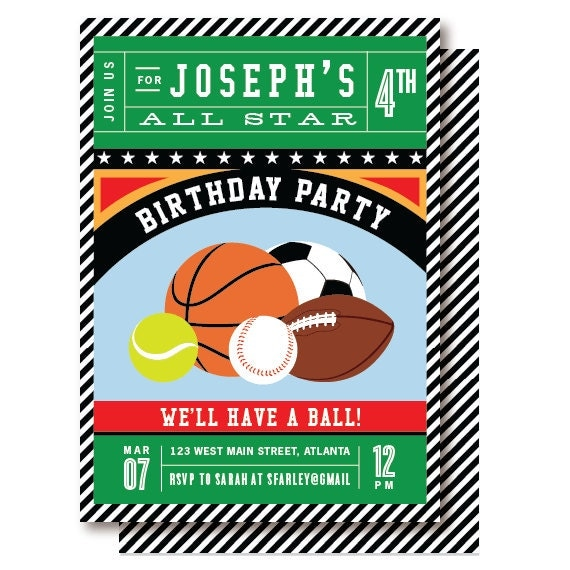 Sports Birthday Invitation by DelightPaperie on Etsy