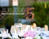 Vintage Rustic Wooden Table Numbers For Wedding and Reception Decor.
