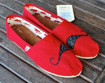 Hand Painted Red Canvas Black Mustache TOMS - Custom Shoes