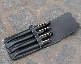Vegetable Tan Leather Quadruple Pen Case Black