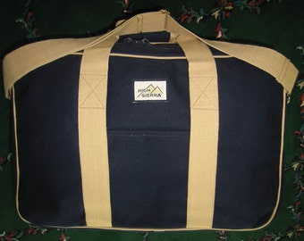 """vintage navy blue """"High Sierra"""" canvas suitcase - like new condition"""