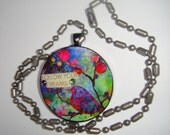 Follow Your Dreams Tie-Dyed Watercolor Recycled Poker Chip Pendant with Swarovski Crystal Bling
