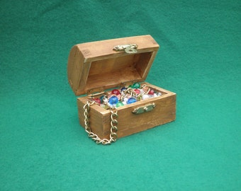 Treasure Chest, miniature wooden chest filled with jewels for your fantasy display