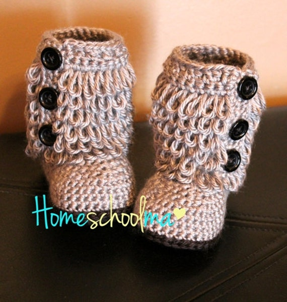 Crochet Baby Boots Grey (Black sole & Buttons)