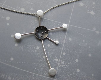 Handmade Southern Cross Constellation Necklace Oxidized Sterling Silver on Ball Chain